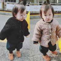 童装婴幼儿女童秋冬款加厚外套0-1-2-3岁儿童宝宝仿皮草棉袄棉衣
