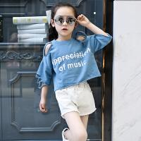 2018新款中大童短袖T恤儿童牛仔短裤套装休闲两件套女童夏装套装