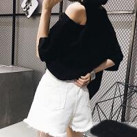 孕妇牛仔短裤女夏外穿韩版宽松黑色热裤夏装托腹显瘦毛边休闲短裤 白色 定制版现货秒发
