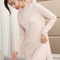 新款中长款羊绒衫女半高领毛衣裙修身保暖长袖打底羊毛连衣裙