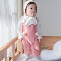 婴幼儿春季新款韩版连体爬服三件套 新生儿棉哈衣套装