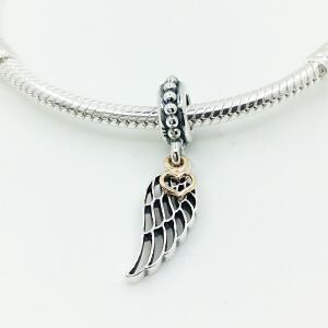 潘多拉Pandora手链项链吊坠女925银14K金天使之翼diy珠子791389