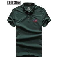 JEEP吉普短袖T恤男2018夏装新款商务休闲POLO衫男士纯色翻领短袖t恤