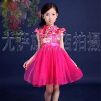 女童唐装夏季公主纱裙套装童装夏天装 旗袍短裙儿童节民族舞蹈礼服