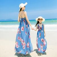 儿童沙滩裙亲子 母女装波西米亚漏背性感吊带连衣裙印花雪纺长裙
