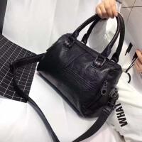 包包2018新款波士顿包手提包女欧美时尚真皮拼接单肩包简约斜挎包 黑色