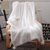 手感兔兔绒双层加厚冬季小毛毯子珊瑚绒单人夏季薄款空调毯午睡毯定制