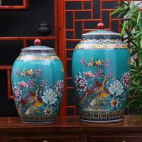 景德镇陶瓷米缸30斤家用20斤带盖密封防虫防潮水缸家居装饰品摆件