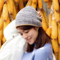 帽子女潮百搭韩版毛线帽 简约甜美可爱套头针织帽