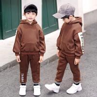 冬季儿童加绒卫衣两件套加厚男孩韩版潮童装男童套装冬装