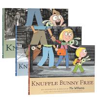 顺丰发货 Knuffle Bunny 古纳什小兔系列3本套装 Knuffle Bunny Free Knuffle Bunny Too Mo Willems经典凯迪克获奖绘本 英文原版图画亲子读物