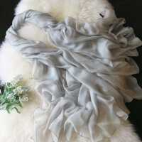 薇秋春秋女士冬季长款纯色单色真丝围巾披肩两用 灰色桑蚕丝丝巾服装配饰