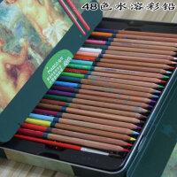 包邮马可雷诺阿�\木彩色铅 进口芯48色油性水溶彩铅铁盒套装
