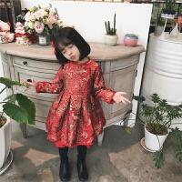 宝宝洋气公主裙子7岁儿童新年装中国风4冬装女童加绒连衣裙