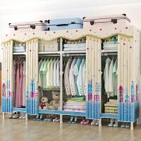 简易布衣柜钢管加粗加固加厚布艺单双人组装全钢架简约现代非实木 2门 组装