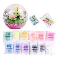 智高棉花泡泡DIY水晶球 无毒超轻粘土儿童DIY橡皮泥创意益智玩具 8色