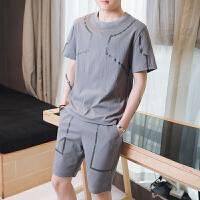 2018夏季男士运动套装圆领透气短袖T恤贴标短裤健身跑步阿青套装