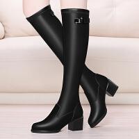 2017秋冬新款过膝长靴女弹力靴粗跟高跟过膝靴显瘦高筒靴女长靴