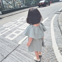 女童连衣裙2018新款格子披肩文艺女宝宝夏装儿童洋气裙子