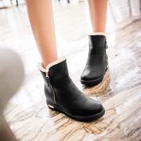 彼艾2017秋冬靴子女平底防水雪地靴pu红色女生短靴短筒靴侧拉链圆头套筒靴