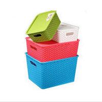 文博 塑料藤编储物篮小号 桌面收纳盒 脏衣服 玩具收纳箱--紫色