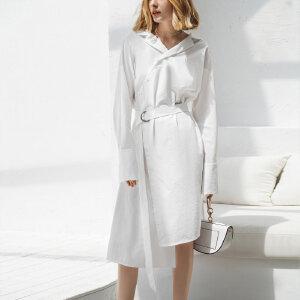 【到手价:194.9元】Amii极简欧货潮chic连衣裙2019春新收腰心机裙子设计感长袖衬衫裙