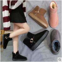 女式雪地靴女一脚蹬加厚冬网红女鞋子新款加绒棉鞋短筒短靴女
