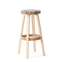 实木吧台椅高脚凳子现代简约吧凳欧式复古创意时尚酒吧椅布艺 升级款 本色椅架 水波纹