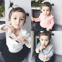 婴儿装宝宝t恤童长袖加绒打底衫0岁3个月6新生儿上衣季冬装