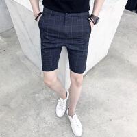 格子短裤男2018夏装新款英伦修身青年中裤潮夏天小脚休闲五分裤薄