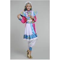 少数民族演出服西藏蒙古族服装女广场舞藏族舞蹈服饰藏服 蓝色和粉色