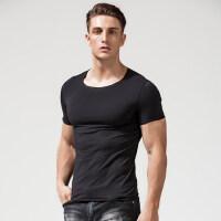男士短袖t恤 散口时尚潮 圆领纯棉白色打底衫纯色修身黑色毛边体
