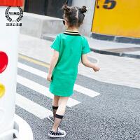 女童t恤2018夏装新款童装韩版儿童蜜蜂翻领短袖百搭长款打底衫潮