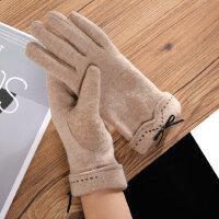 户外骑行开车触摸屏手套女 可爱学生加绒加厚手套 新款保暖羊毛女士手套