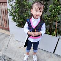 新款小童装马甲两件套装女童白色衬衫儿童衬衣+宝宝背心2件1-6岁