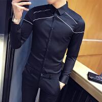男士长袖衬衫修身韩版休闲潮流帅气衬衣青少年发型师寸衫