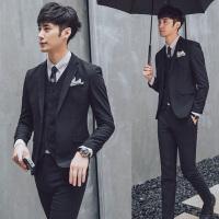 潮流男士西服套装粒扣韩版修身帅气休闲格子小西装英伦三件套潮