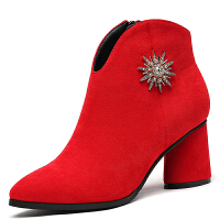 粗跟高跟鞋女2017秋冬季新款尖头单鞋女韩版百搭反绒短靴子女秋鞋