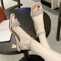 水钻中跟罗马女士凉鞋仙女风时尚一字带配裙子的女鞋
