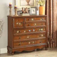 美式五斗柜实木斗柜五斗橱卧室收纳柜子客厅储物柜抽屉式复古北欧 棕色 整装