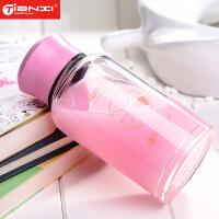 天喜玻璃杯便携带盖可爱茶杯学生儿童创意水瓶耐热杯子办公室水杯