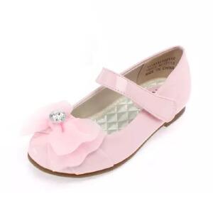 鞋柜PINKII 新款水钻蝴蝶结纱花魔术贴皮鞋女童鞋