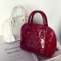 包包新款女包亮面漆皮贝壳包斜挎包女小包时尚手提包女单肩包 酒红色 小号