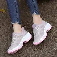 夏季女士坡跟摇摇鞋飞织运动鞋女跑步鞋妈妈鞋网鞋女夏透气运动鞋