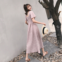 ins超火的连衣裙 夏装2018新款女长款短袖高腰显瘦复古褶皱奶油裙