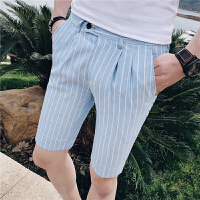 夏天弹力紧身五分裤男士西装裤薄款5分裤子英伦条纹修身潮男短裤