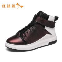 红蜻蜓秋冬新款时尚潮流中跟圆头女短靴高帮鞋