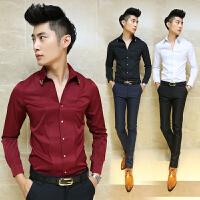 2018春装新品发型师V领衬衫韩版修身男士长袖衬衣酒红色男寸衫潮