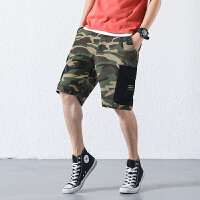 18夏季新款迷彩短裤男潮宽松直筒日系复古多口袋工装五分裤休闲裤
