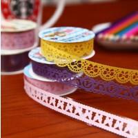 韩国文具蕾丝花边彩色小胶带透明diy相册手工装饰贴纸蕾丝胶带颜色 款式随机发